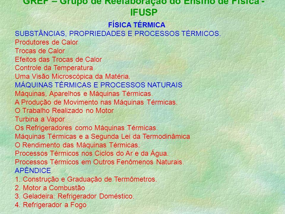 GREF – Grupo de Reelaboração do Ensino de Física - IFUSP FÍSICA TÉRMICA SUBSTÂNCIAS, PROPRIEDADES E PROCESSOS TÉRMICOS.