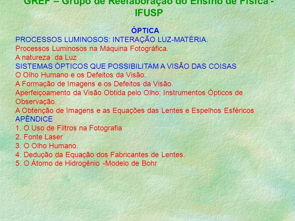 GREF – Grupo de Reelaboração do Ensino de Física - IFUSP ÓPTICA PROCESSOS LUMINOSOS: INTERAÇÃO LUZ-MATÉRIA.