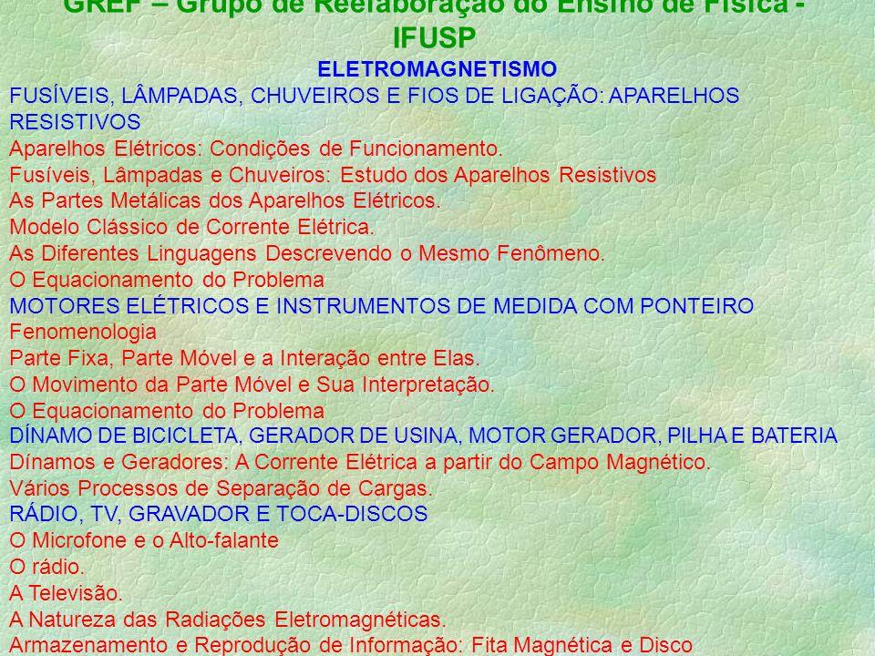 GREF – Grupo de Reelaboração do Ensino de Física - IFUSP ELETROMAGNETISMO FUSÍVEIS, LÂMPADAS, CHUVEIROS E FIOS DE LIGAÇÃO: APARELHOS RESISTIVOS Aparelhos Elétricos: Condições de Funcionamento.