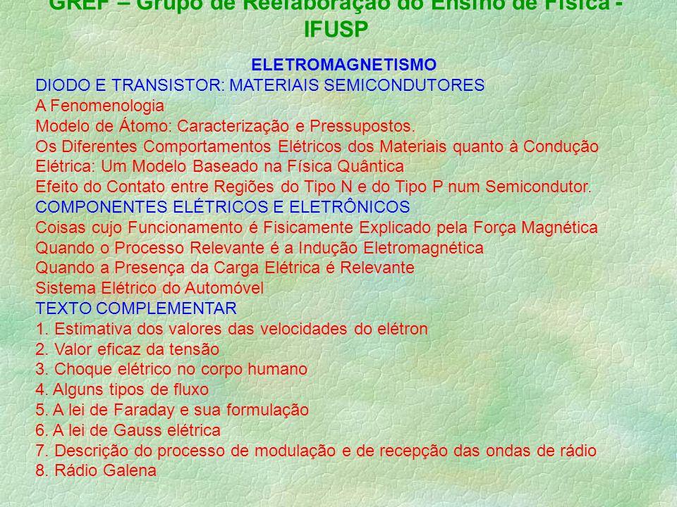 GREF – Grupo de Reelaboração do Ensino de Física - IFUSP ELETROMAGNETISMO DIODO E TRANSISTOR: MATERIAIS SEMICONDUTORES A Fenomenologia Modelo de Átomo: Caracterização e Pressupostos.