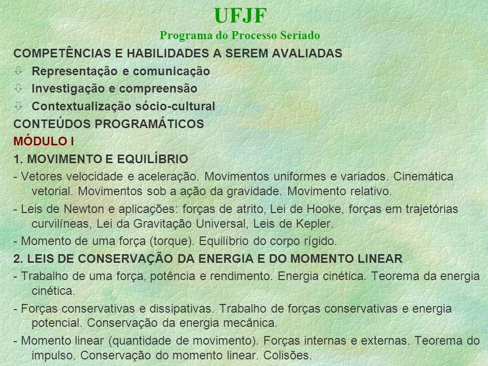 UFJF Programa do Processo Seriado COMPETÊNCIAS E HABILIDADES A SEREM AVALIADAS Representação e comunicação Investigação e compreensão òContextualização sócio-cultural CONTEÚDOS PROGRAMÁTICOS MÓDULO I 1.