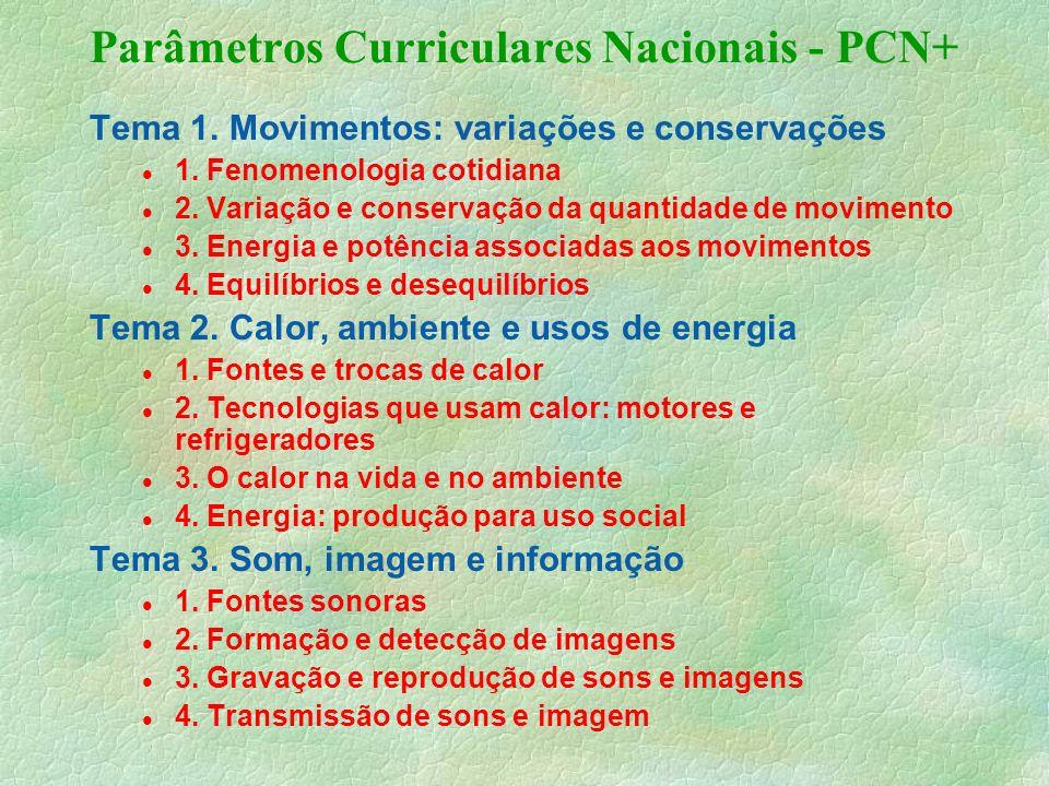 Parâmetros Curriculares Nacionais - PCN+ Tema 1.Movimentos: variações e conservações 1.