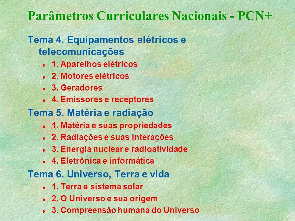Parâmetros Curriculares Nacionais - PCN+ Tema 4.Equipamentos elétricos e telecomunicações 1.