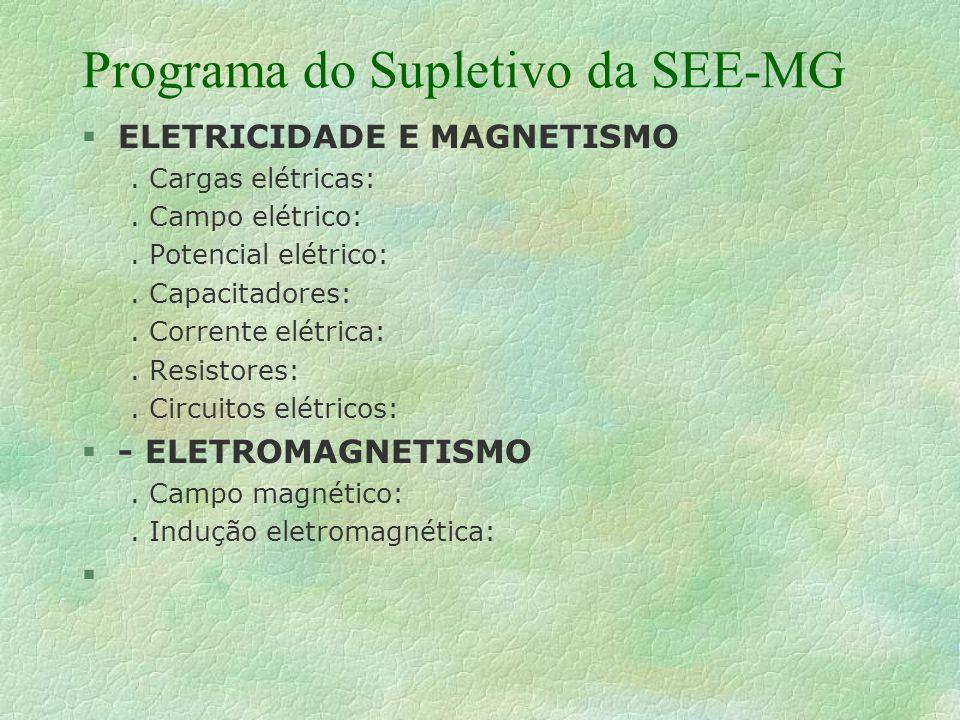 Programa do Supletivo da SEE-MG § ELETRICIDADE E MAGNETISMO.