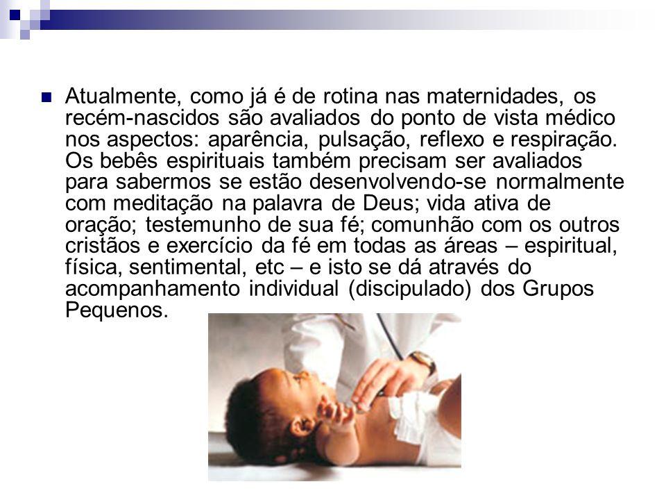 Atualmente, como já é de rotina nas maternidades, os recém-nascidos são avaliados do ponto de vista médico nos aspectos: aparência, pulsação, reflexo