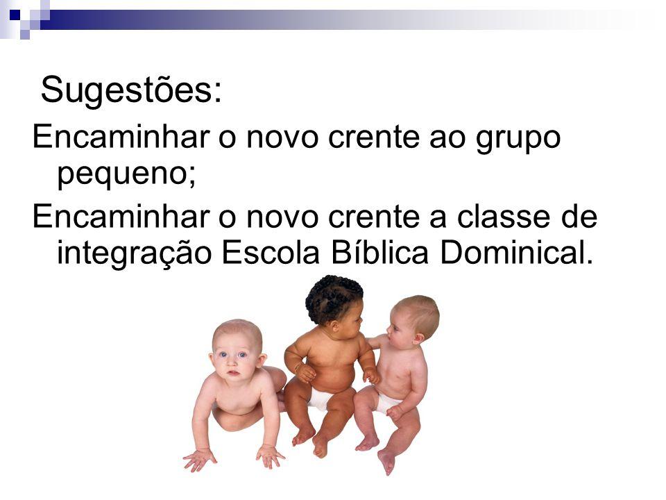 Sugestões: Encaminhar o novo crente ao grupo pequeno; Encaminhar o novo crente a classe de integração Escola Bíblica Dominical.