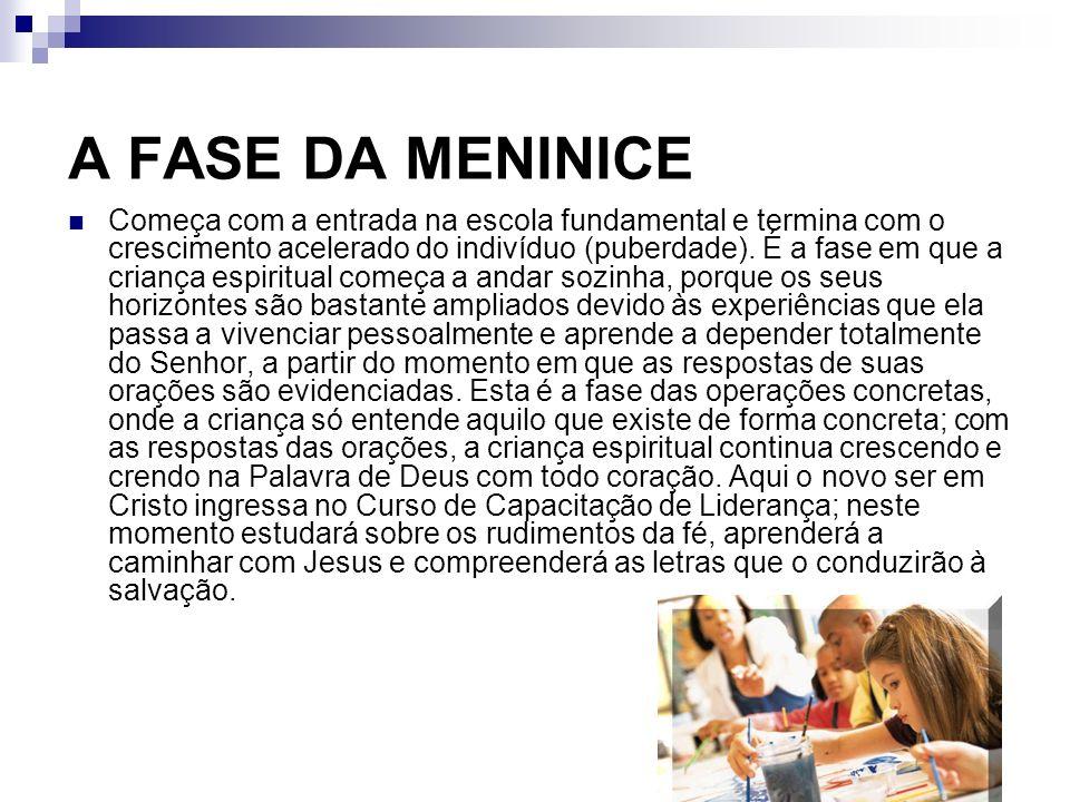 A FASE DA MENINICE Começa com a entrada na escola fundamental e termina com o crescimento acelerado do indivíduo (puberdade). É a fase em que a crianç