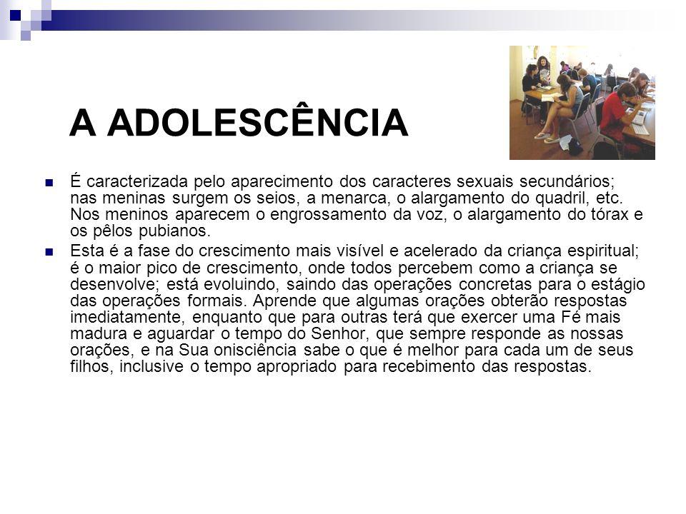 A ADOLESCÊNCIA É caracterizada pelo aparecimento dos caracteres sexuais secundários; nas meninas surgem os seios, a menarca, o alargamento do quadril,
