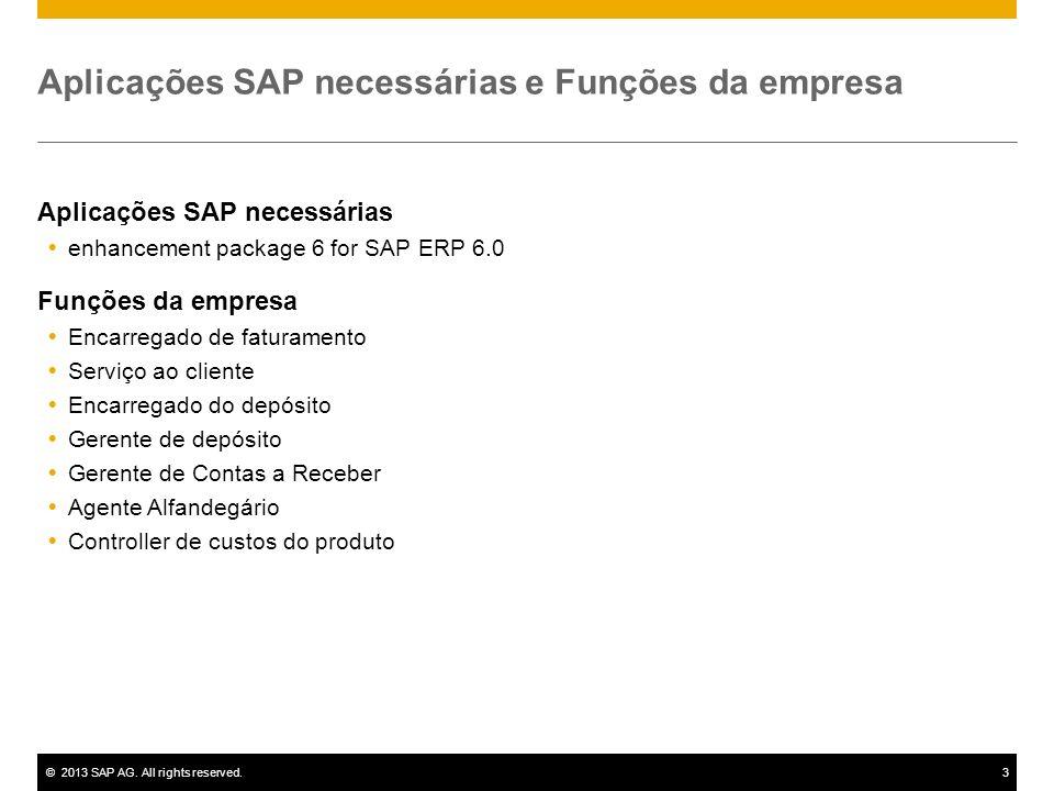 ©2013 SAP AG. All rights reserved.3 Aplicações SAP necessárias e Funções da empresa Aplicações SAP necessárias enhancement package 6 for SAP ERP 6.0 F