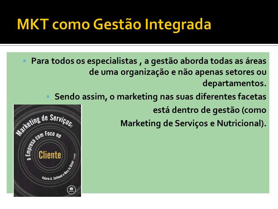 Para todos os especialistas, a gestão aborda todas as áreas de uma organização e não apenas setores ou departamentos. Sendo assim, o marketing nas sua