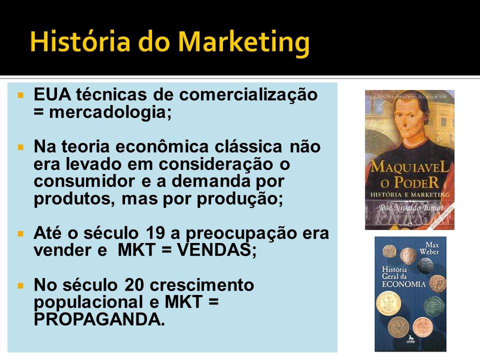 EUA técnicas de comercialização = mercadologia; Na teoria econômica clássica não era levado em consideração o consumidor e a demanda por produtos, mas