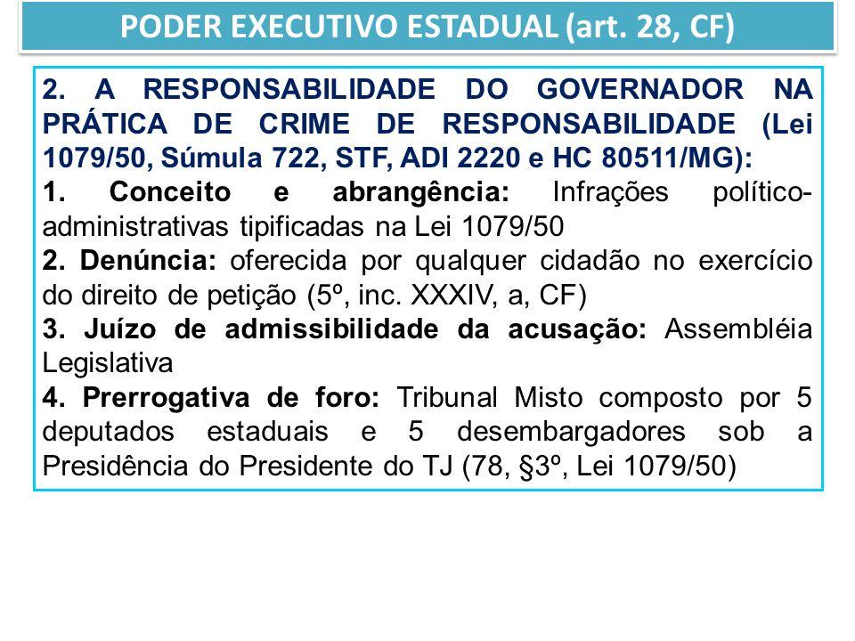 2. A RESPONSABILIDADE DO GOVERNADOR NA PRÁTICA DE CRIME DE RESPONSABILIDADE (Lei 1079/50, Súmula 722, STF, ADI 2220 e HC 80511/MG): 1. Conceito e abra