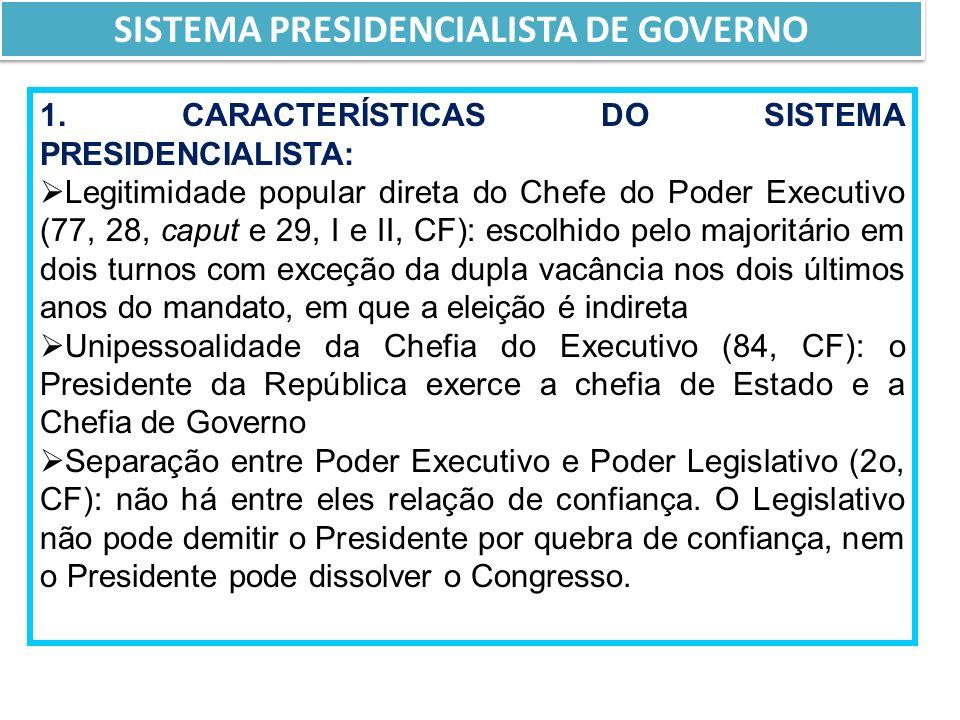 SISTEMA PRESIDENCIALISTA DE GOVERNO 1.