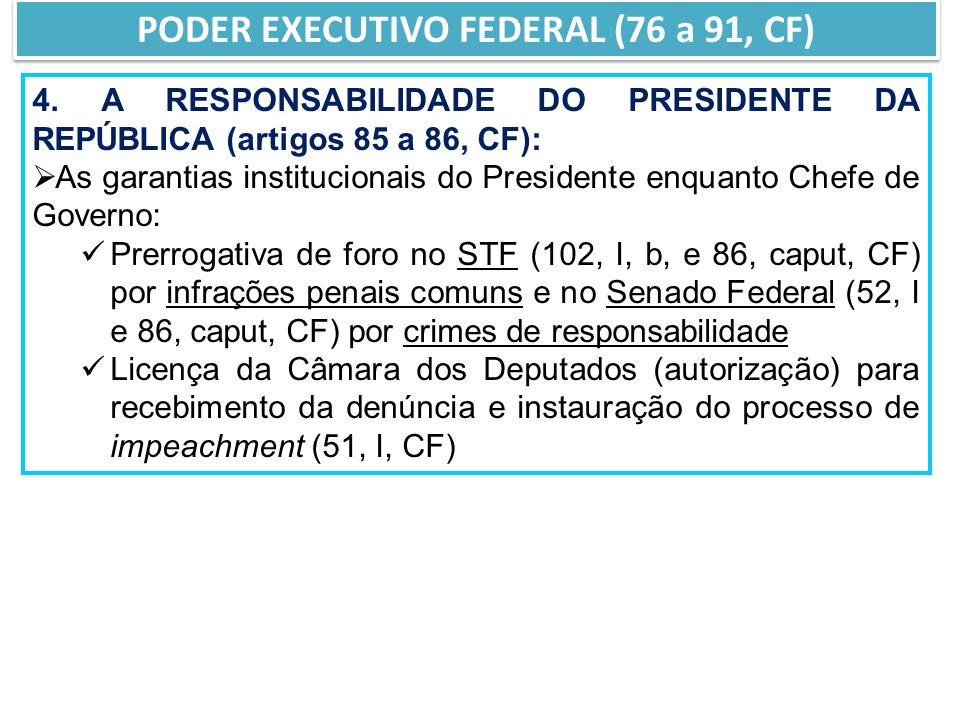 4. A RESPONSABILIDADE DO PRESIDENTE DA REPÚBLICA (artigos 85 a 86, CF): As garantias institucionais do Presidente enquanto Chefe de Governo: Prerrogat
