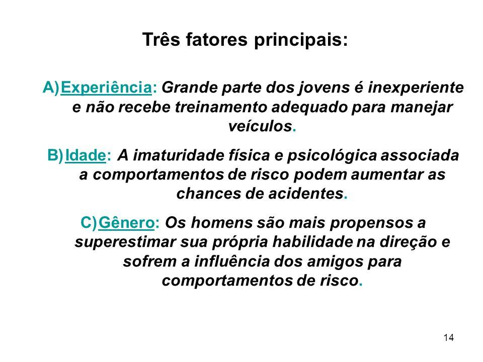 14 Três fatores principais: A)Experiência: Grande parte dos jovens é inexperiente e não recebe treinamento adequado para manejar veículos.