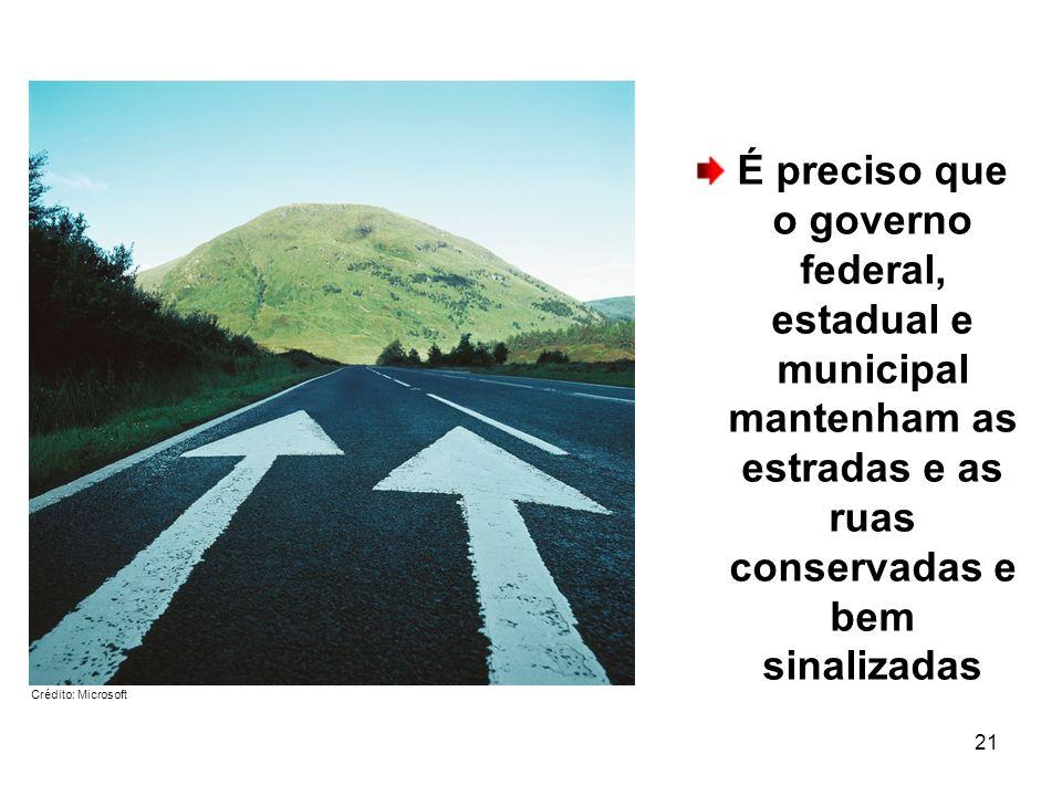 21 É preciso que o governo federal, estadual e municipal mantenham as estradas e as ruas conservadas e bem sinalizadas Crédito: Microsoft