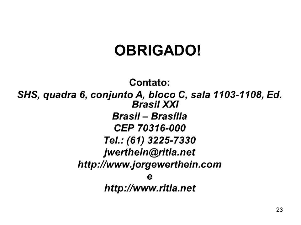 23 Contato: SHS, quadra 6, conjunto A, bloco C, sala 1103-1108, Ed. Brasil XXI Brasil – Brasília CEP 70316-000 Tel.: (61) 3225-7330 jwerthein@ritla.ne