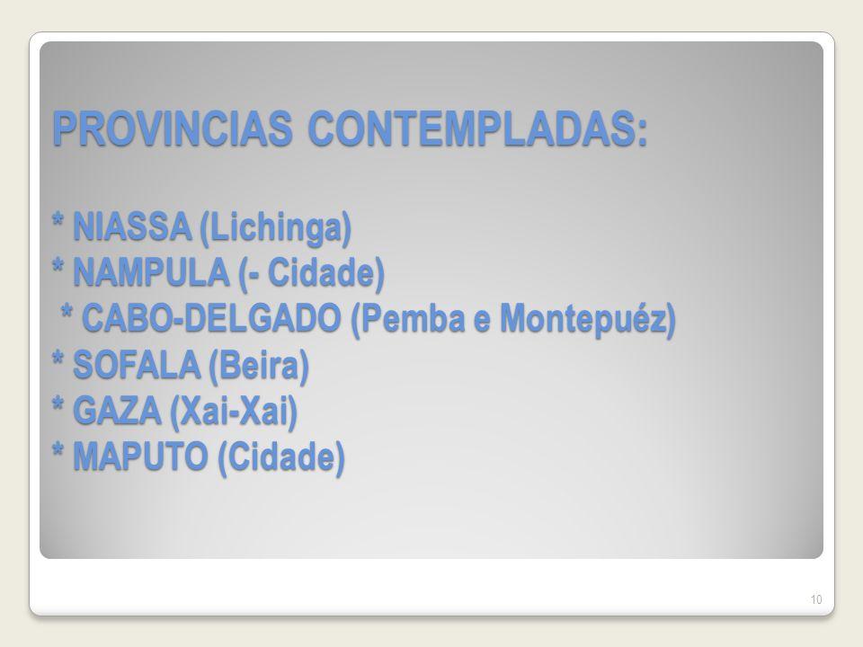 PROVINCIAS CONTEMPLADAS: * NIASSA (Lichinga) * NAMPULA (- Cidade) * CABO-DELGADO (Pemba e Montepuéz) * SOFALA (Beira) * GAZA (Xai-Xai) * MAPUTO (Cidade) 10
