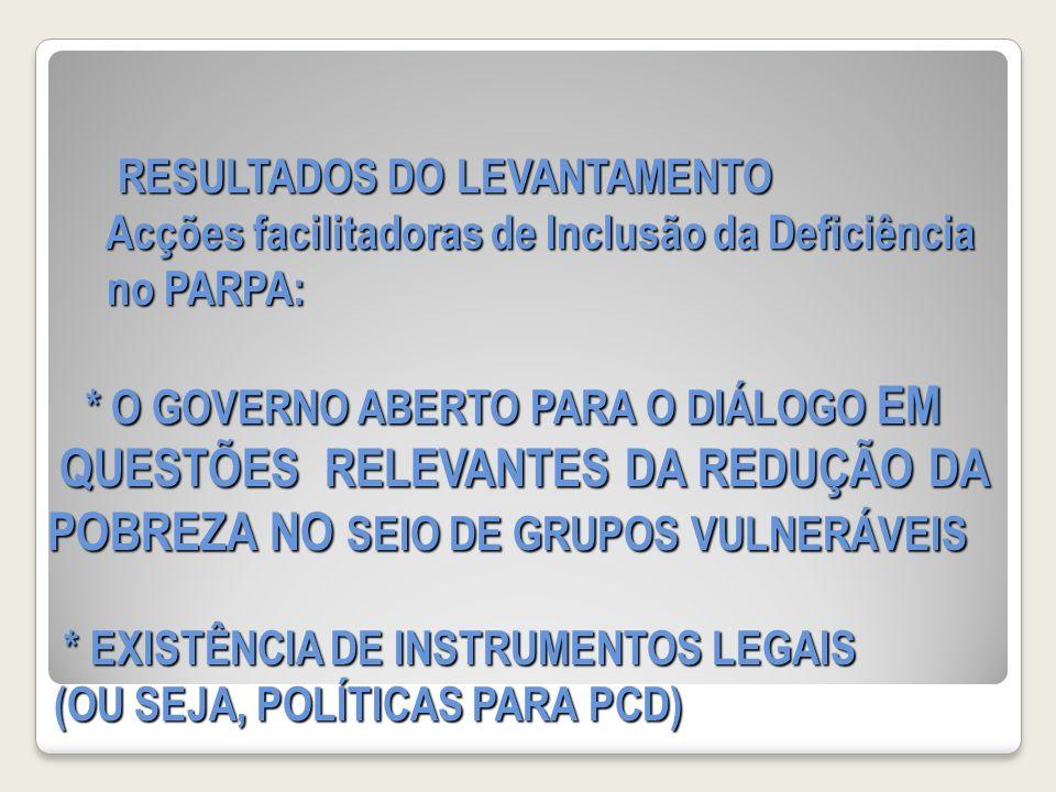 RESULTADOS DO LEVANTAMENTO Acções facilitadoras de Inclusão da Deficiência no PARPA: * O GOVERNO ABERTO PARA O DIÁLOGO EM QUESTÕES RELEVANTES DA REDUÇÃO DA POBREZA NO SEIO DE GRUPOS VULNERÁVEIS * EXISTÊNCIA DE INSTRUMENTOS LEGAIS (OU SEJA, POLÍTICAS PARA PCD) RESULTADOS DO LEVANTAMENTO Acções facilitadoras de Inclusão da Deficiência no PARPA: * O GOVERNO ABERTO PARA O DIÁLOGO EM QUESTÕES RELEVANTES DA REDUÇÃO DA POBREZA NO SEIO DE GRUPOS VULNERÁVEIS * EXISTÊNCIA DE INSTRUMENTOS LEGAIS (OU SEJA, POLÍTICAS PARA PCD)
