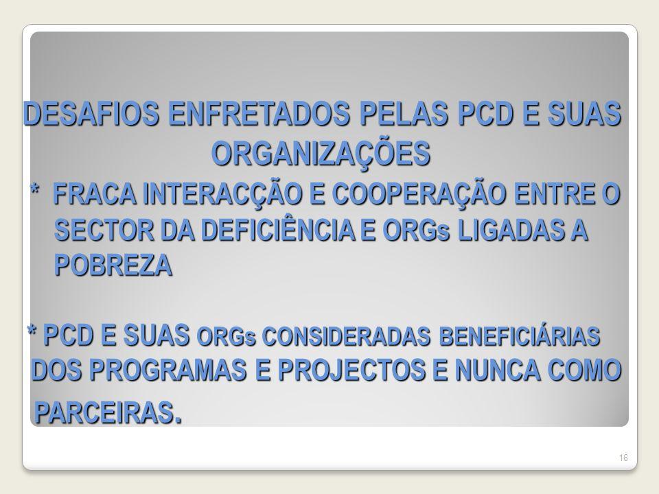 DESAFIOS ENFRETADOS PELAS PCD E SUAS ORGANIZAÇÕES * FRACA INTERACÇÃO E COOPERAÇÃO ENTRE O SECTOR DA DEFICIÊNCIA E ORGs LIGADAS A POBREZA * PCD E SUAS ORGs CONSIDERADAS BENEFICIÁRIAS DOS PROGRAMAS E PROJECTOS E NUNCA COMO PARCEIRAS.