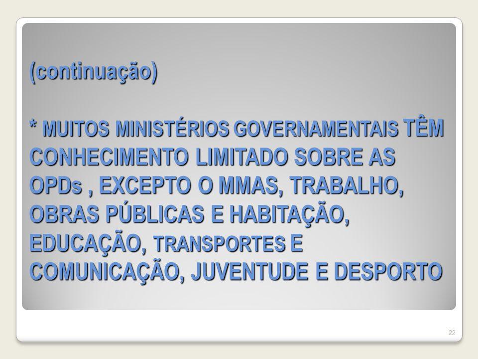 (continuação) * MUITOS MINISTÉRIOS GOVERNAMENTAIS TÊM CONHECIMENTO LIMITADO SOBRE AS OPDs, EXCEPTO O MMAS, TRABALHO, OBRAS PÚBLICAS E HABITAÇÃO, EDUCAÇÃO, TRANSPORTES E COMUNICAÇÃO, JUVENTUDE E DESPORTO 22