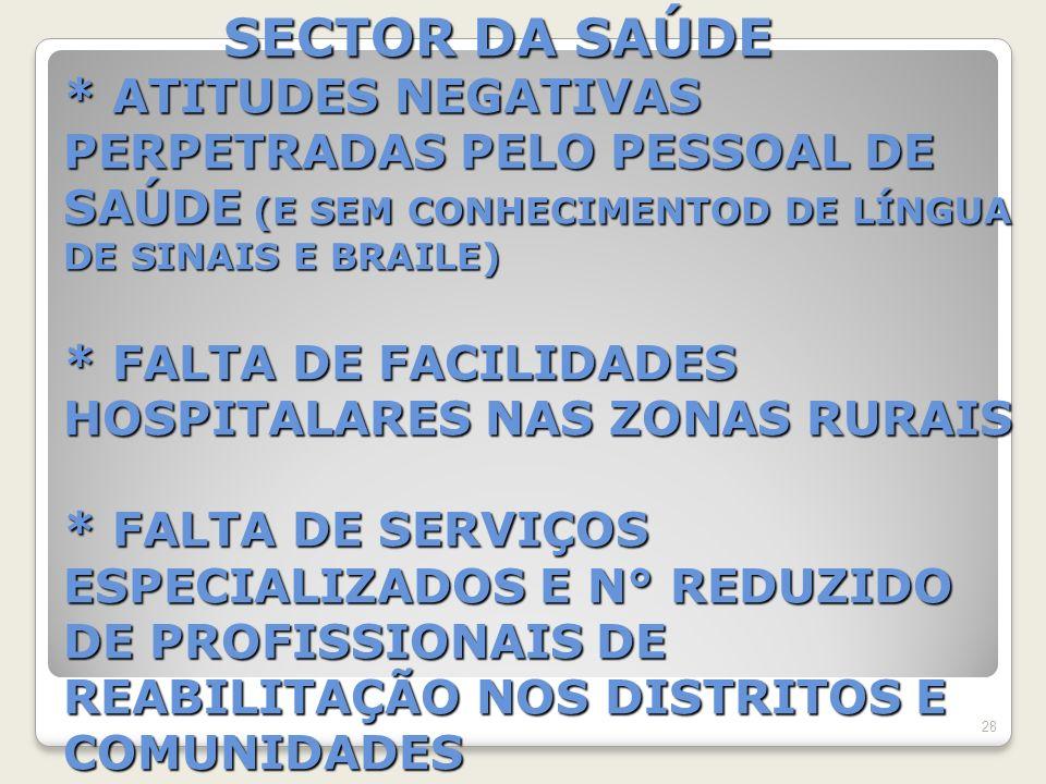 SECTOR DA SAÚDE * ATITUDES NEGATIVAS PERPETRADAS PELO PESSOAL DE SAÚDE (E SEM CONHECIMENTOD DE LÍNGUA DE SINAIS E BRAILE) * FALTA DE FACILIDADES HOSPITALARES NAS ZONAS RURAIS * FALTA DE SERVIÇOS ESPECIALIZADOS E N° REDUZIDO DE PROFISSIONAIS DE REABILITAÇÃO NOS DISTRITOS E COMUNIDADES SECTOR DA SAÚDE * ATITUDES NEGATIVAS PERPETRADAS PELO PESSOAL DE SAÚDE (E SEM CONHECIMENTOD DE LÍNGUA DE SINAIS E BRAILE) * FALTA DE FACILIDADES HOSPITALARES NAS ZONAS RURAIS * FALTA DE SERVIÇOS ESPECIALIZADOS E N° REDUZIDO DE PROFISSIONAIS DE REABILITAÇÃO NOS DISTRITOS E COMUNIDADES 28