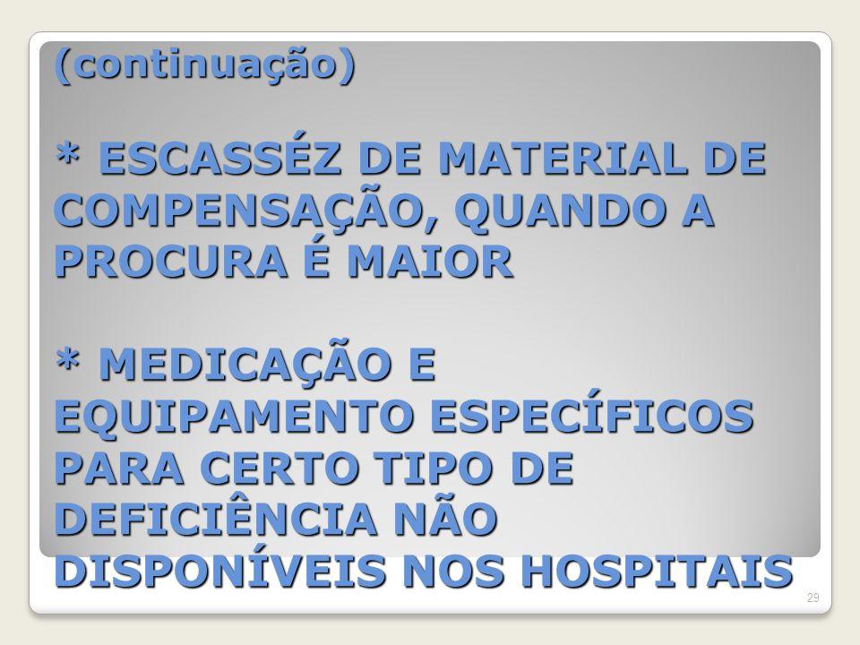 (continuação) * ESCASSÉZ DE MATERIAL DE COMPENSAÇÃO, QUANDO A PROCURA É MAIOR * MEDICAÇÃO E EQUIPAMENTO ESPECÍFICOS PARA CERTO TIPO DE DEFICIÊNCIA NÃO DISPONÍVEIS NOS HOSPITAIS 29