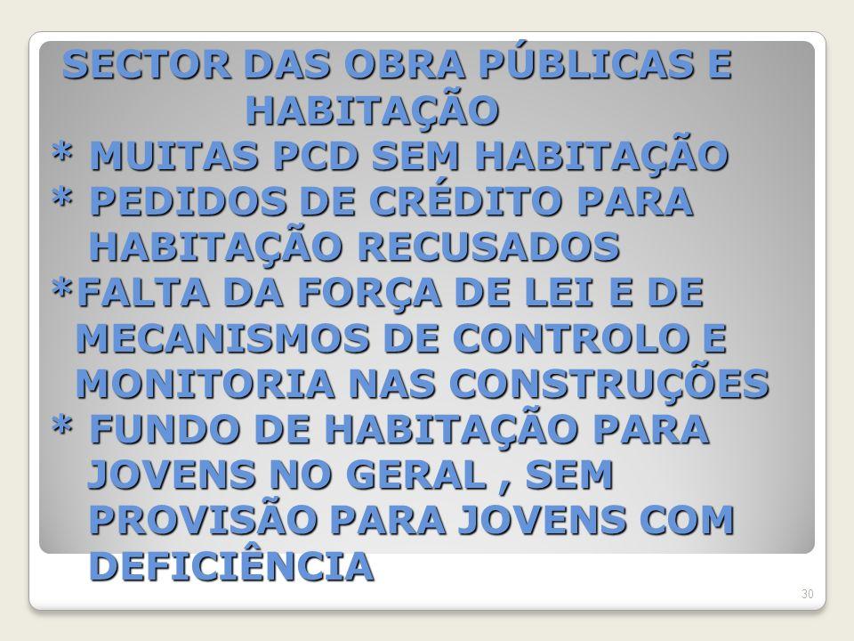 SECTOR DAS OBRA PÚBLICAS E HABITAÇÃO * MUITAS PCD SEM HABITAÇÃO * PEDIDOS DE CRÉDITO PARA HABITAÇÃO RECUSADOS *FALTA DA FORÇA DE LEI E DE MECANISMOS DE CONTROLO E MONITORIA NAS CONSTRUÇÕES * FUNDO DE HABITAÇÃO PARA JOVENS NO GERAL, SEM PROVISÃO PARA JOVENS COM DEFICIÊNCIA SECTOR DAS OBRA PÚBLICAS E HABITAÇÃO * MUITAS PCD SEM HABITAÇÃO * PEDIDOS DE CRÉDITO PARA HABITAÇÃO RECUSADOS *FALTA DA FORÇA DE LEI E DE MECANISMOS DE CONTROLO E MONITORIA NAS CONSTRUÇÕES * FUNDO DE HABITAÇÃO PARA JOVENS NO GERAL, SEM PROVISÃO PARA JOVENS COM DEFICIÊNCIA 30