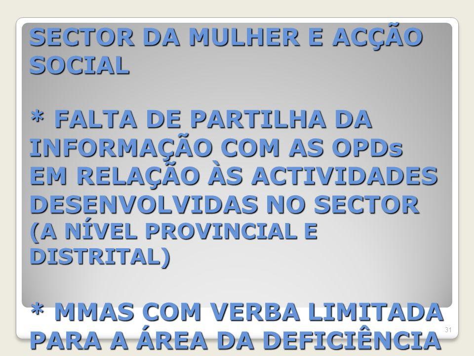 SECTOR DA MULHER E ACÇÃO SOCIAL * FALTA DE PARTILHA DA INFORMAÇÃO COM AS OPDs EM RELAÇÃO ÀS ACTIVIDADES DESENVOLVIDAS NO SECTOR (A NÍVEL PROVINCIAL E DISTRITAL) * MMAS COM VERBA LIMITADA PARA A ÁREA DA DEFICIÊNCIA 31