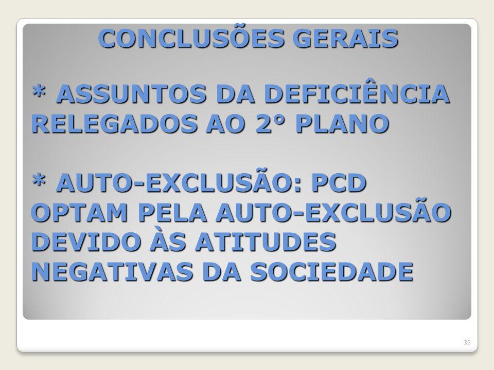 CONCLUSÕES GERAIS * ASSUNTOS DA DEFICIÊNCIA RELEGADOS AO 2° PLANO * AUTO-EXCLUSÃO: PCD OPTAM PELA AUTO-EXCLUSÃO DEVIDO ÀS ATITUDES NEGATIVAS DA SOCIEDADE CONCLUSÕES GERAIS * ASSUNTOS DA DEFICIÊNCIA RELEGADOS AO 2° PLANO * AUTO-EXCLUSÃO: PCD OPTAM PELA AUTO-EXCLUSÃO DEVIDO ÀS ATITUDES NEGATIVAS DA SOCIEDADE 33