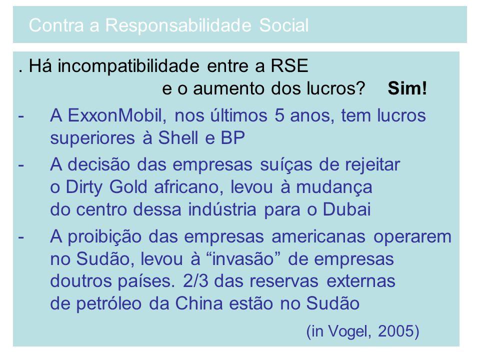 . Há incompatibilidade entre a RSE e o aumento dos lucros? Sim! -A ExxonMobil, nos últimos 5 anos, tem lucros superiores à Shell e BP -A decisão das e