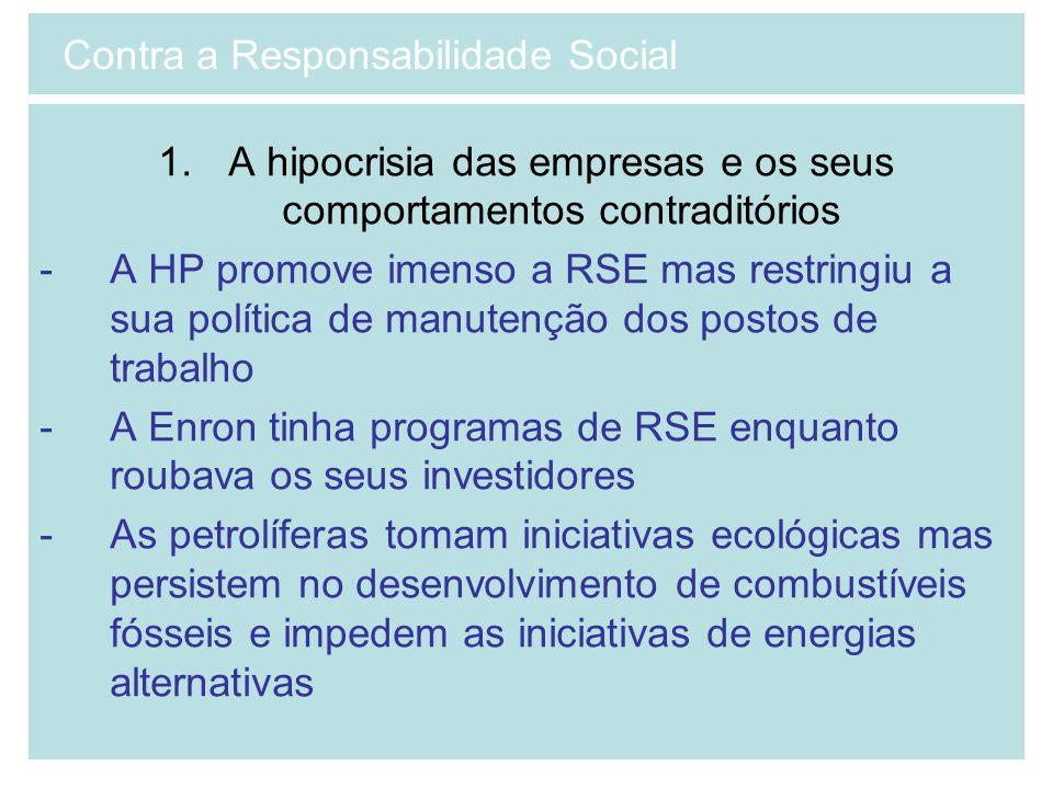 1.A hipocrisia das empresas e os seus comportamentos contraditórios -A HP promove imenso a RSE mas restringiu a sua política de manutenção dos postos