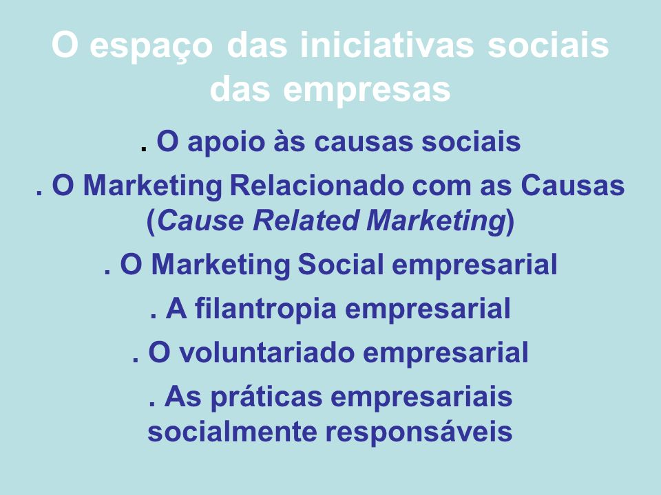O espaço das iniciativas sociais das empresas. O apoio às causas sociais. O Marketing Relacionado com as Causas (Cause Related Marketing). O Marketing