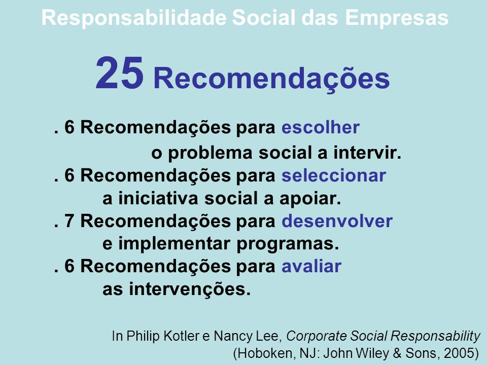 Responsabilidade Social das Empresas 25 Recomendações. 6 Recomendações para escolher o problema social a intervir.. 6 Recomendações para seleccionar a