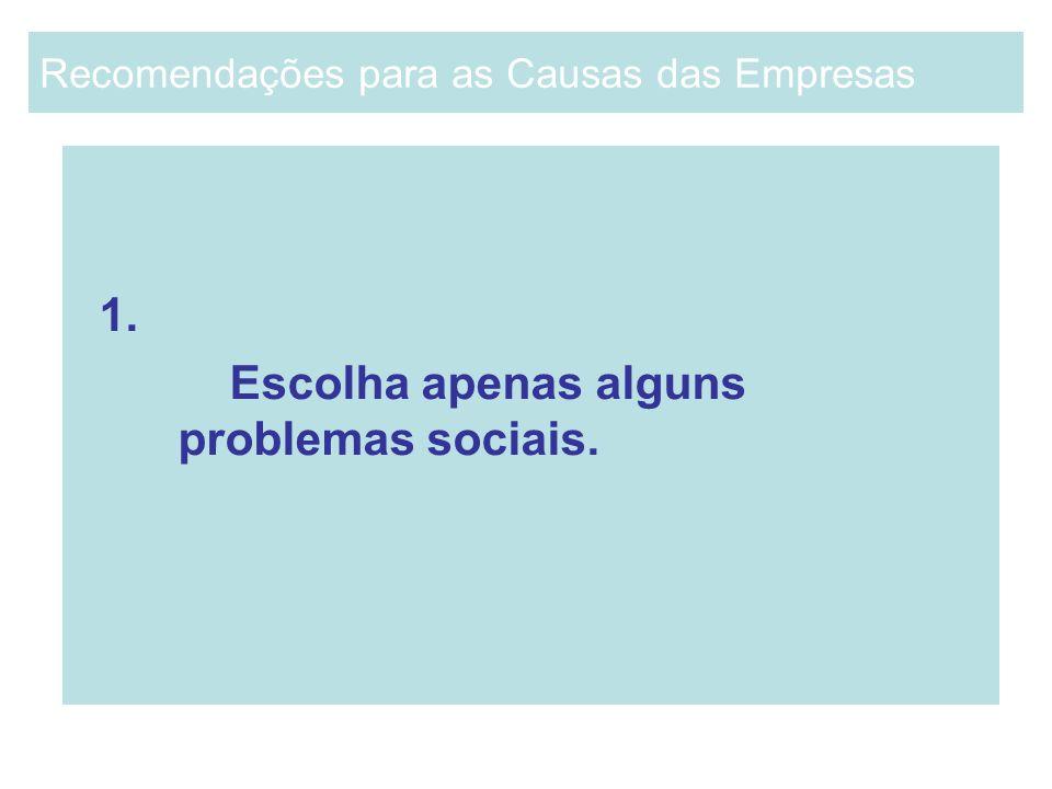 1. Escolha apenas alguns problemas sociais. Recomendações para as Causas das Empresas