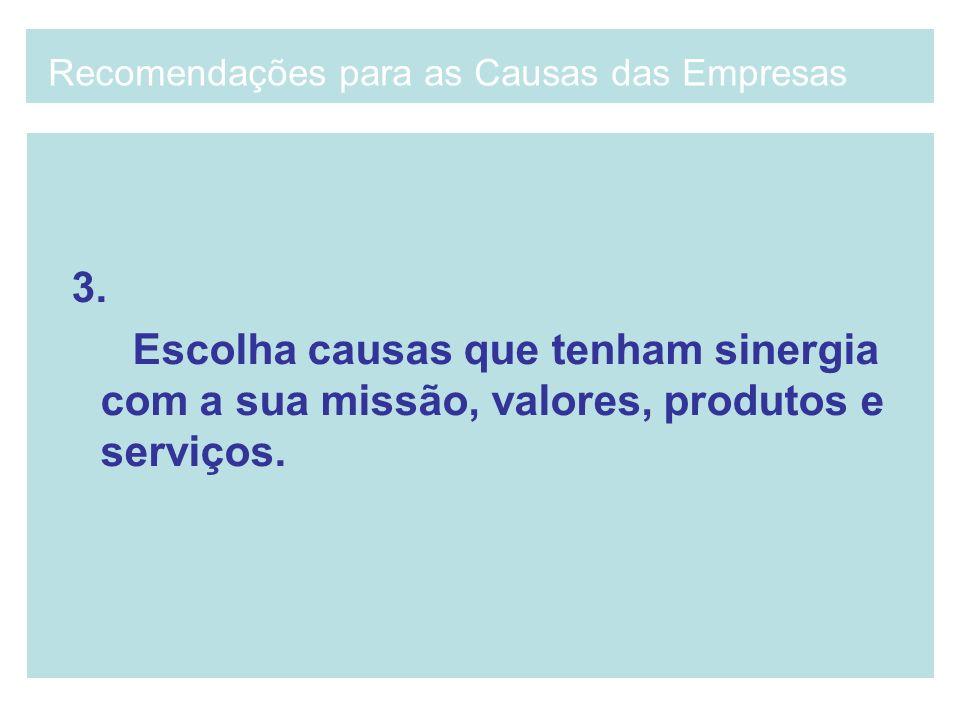 3. Escolha causas que tenham sinergia com a sua missão, valores, produtos e serviços. Recomendações para as Causas das Empresas