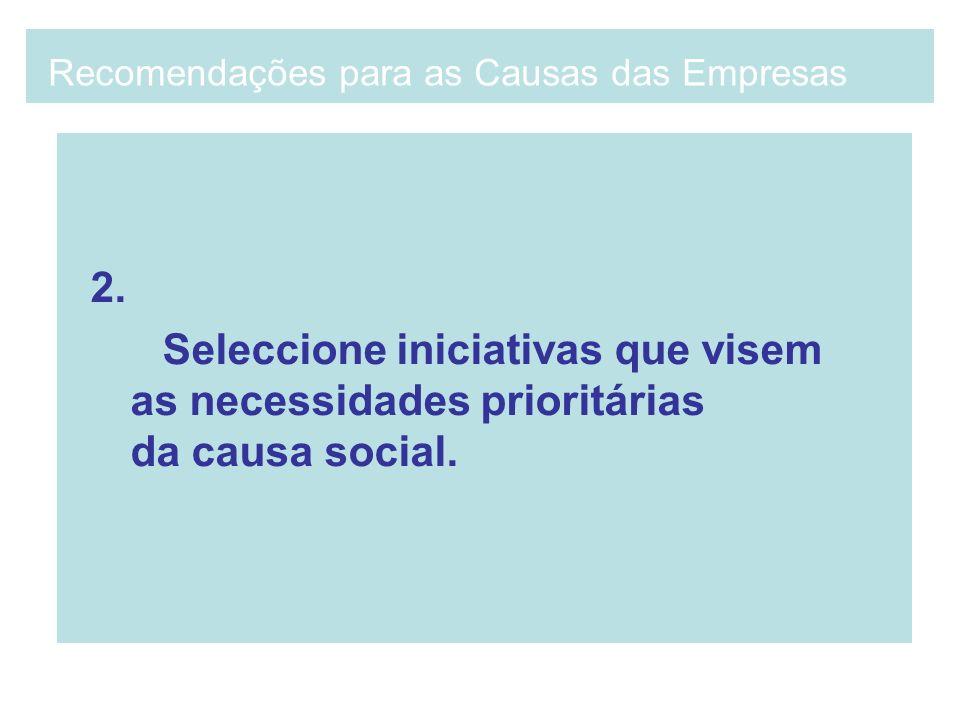 2. Seleccione iniciativas que visem as necessidades prioritárias da causa social. Recomendações para as Causas das Empresas