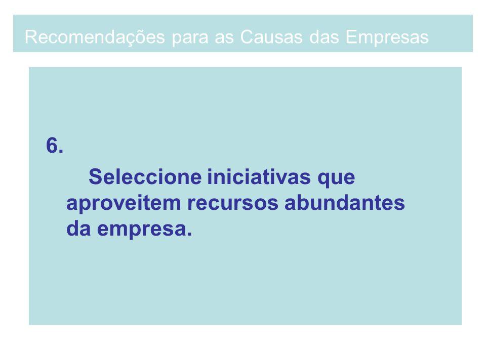 6. Seleccione iniciativas que aproveitem recursos abundantes da empresa. Recomendações para as Causas das Empresas