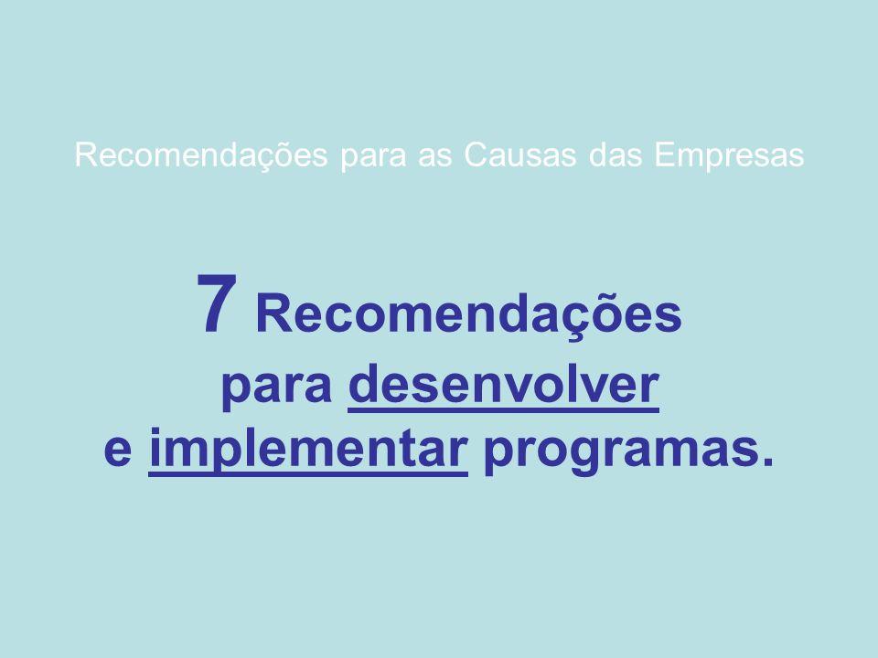Recomendações para as Causas das Empresas 7 Recomendações para desenvolver e implementar programas.