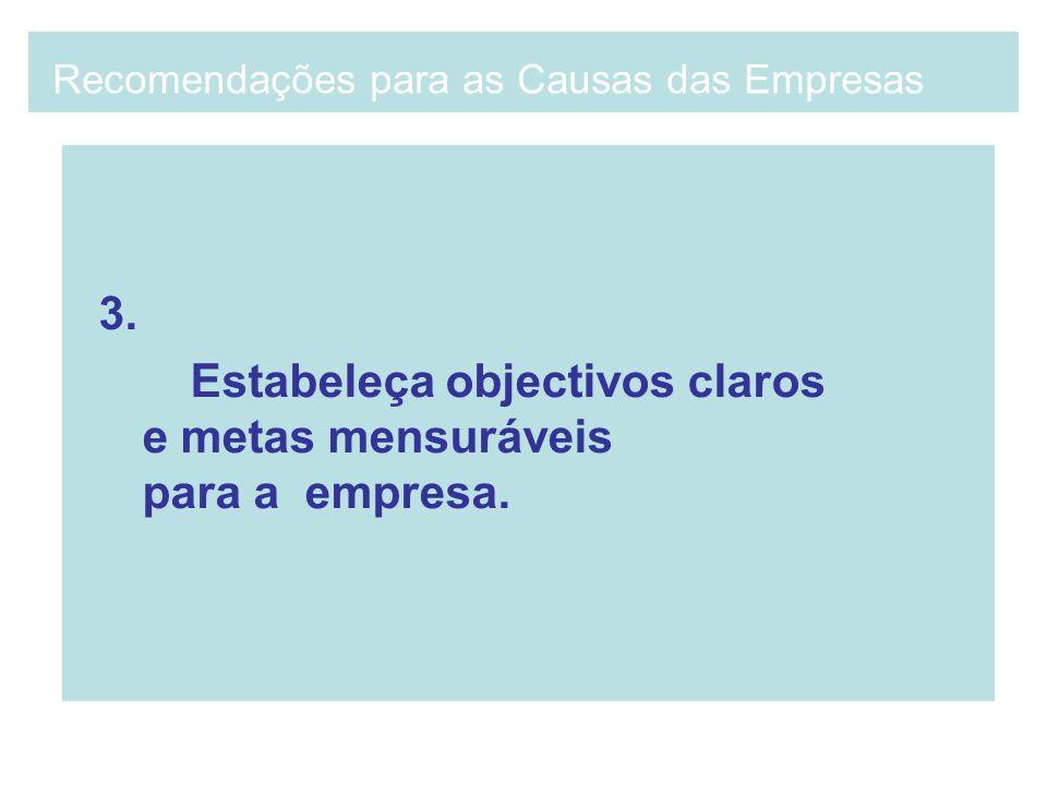 3. Estabeleça objectivos claros e metas mensuráveis para a empresa. Recomendações para as Causas das Empresas