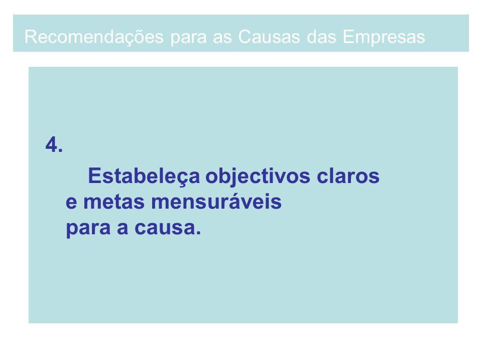 4. Estabeleça objectivos claros e metas mensuráveis para a causa. Recomendações para as Causas das Empresas