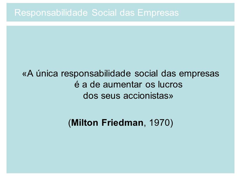 «A única responsabilidade social das empresas é a de aumentar os lucros dos seus accionistas» (Milton Friedman, 1970) Responsabilidade Social das Empr