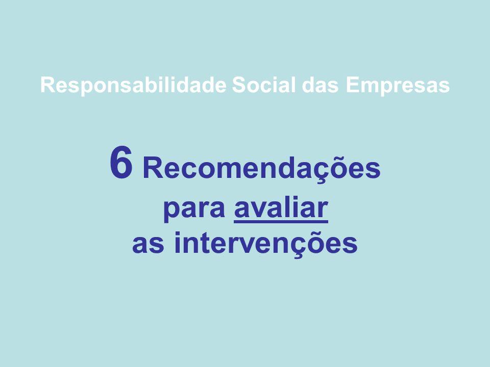 Responsabilidade Social das Empresas 6 Recomendações para avaliar as intervenções
