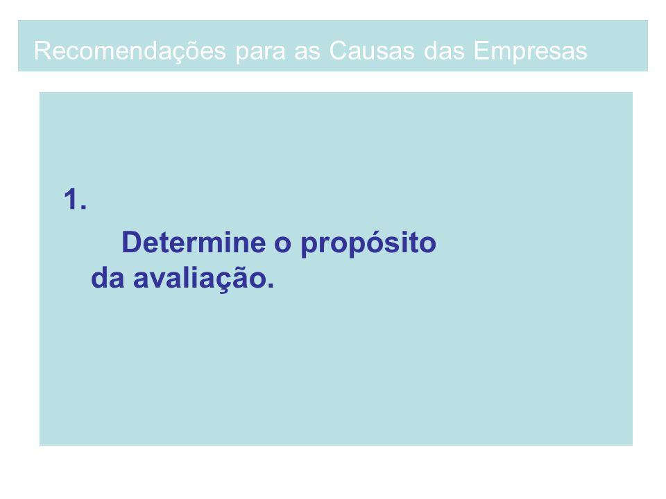 1. Determine o propósito da avaliação. Recomendações para as Causas das Empresas