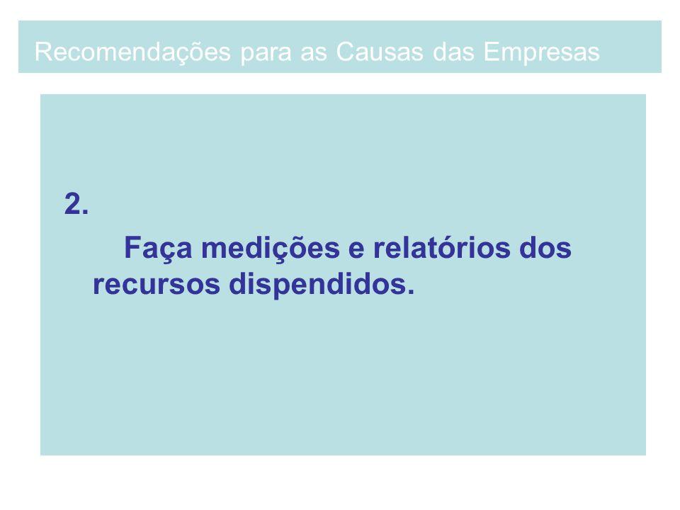 2. Faça medições e relatórios dos recursos dispendidos. Recomendações para as Causas das Empresas