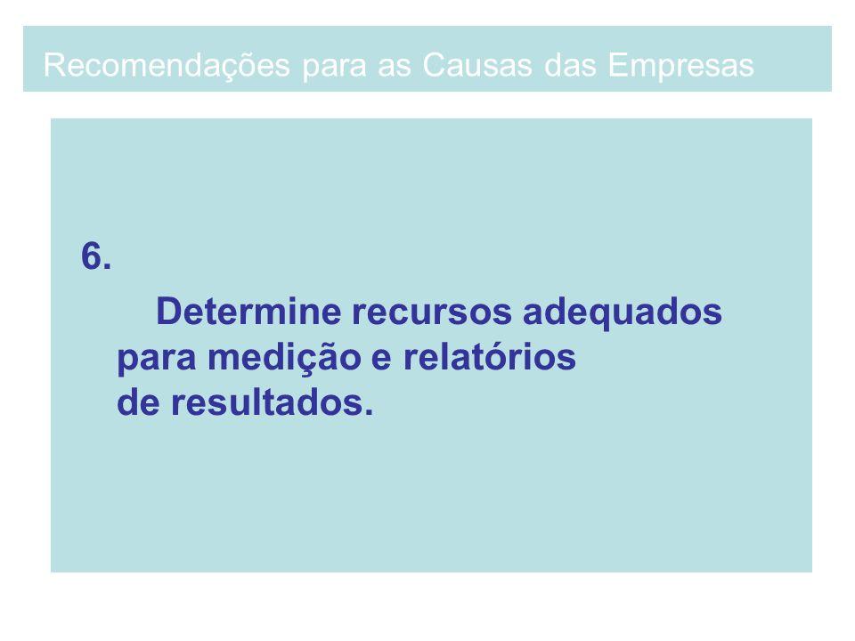 6. Determine recursos adequados para medição e relatórios de resultados. Recomendações para as Causas das Empresas