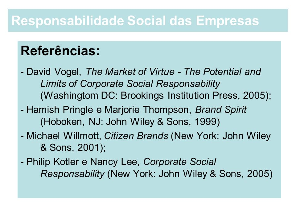 Referências: - David Vogel, The Market of Virtue - The Potential and Limits of Corporate Social Responsability (Washingtom DC: Brookings Institution P