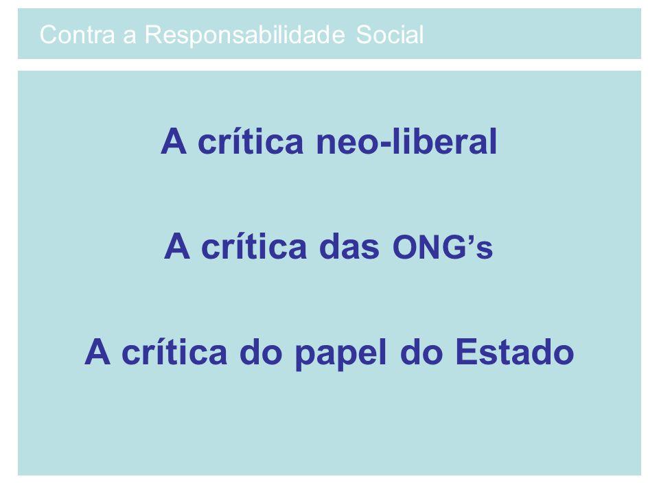 A crítica neo-liberal A crítica das ONGs A crítica do papel do Estado Contra a Responsabilidade Social