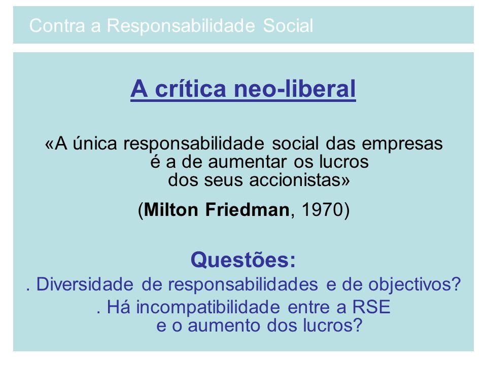 A crítica neo-liberal «A única responsabilidade social das empresas é a de aumentar os lucros dos seus accionistas» (Milton Friedman, 1970) Questões:.