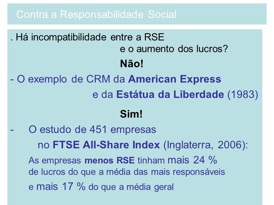 . Há incompatibilidade entre a RSE e o aumento dos lucros? Não! - O exemplo de CRM da American Express e da Estátua da Liberdade (1983) Sim! -O estudo